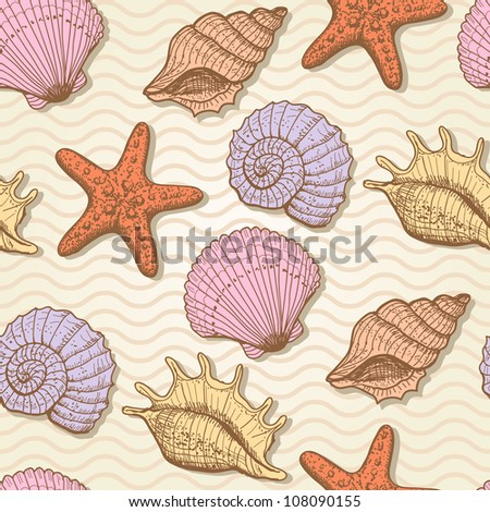 Sea seamless pattern. Original hand drawn illustration in vintage style - stock vector