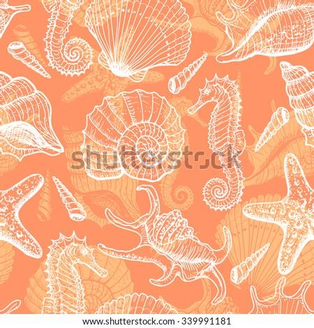 Sea seamless pattern. Original hand drawn illustration in vintage style - stock vector