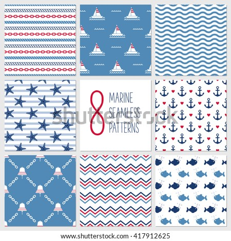Sea seamless patterns, nautical design, marine elements. Boat, bell, fish, starfish, anchor, rope, chevron, chain, wave.