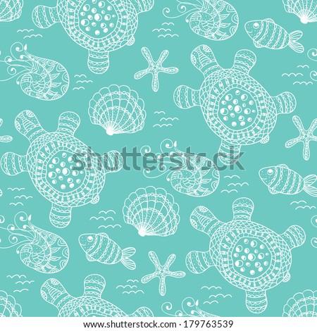 Sea seamless with marine life. - stock vector