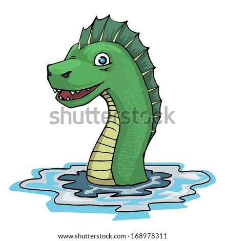 Sea serpent, vector illustration - stock vector