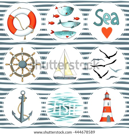 Sea set of 9 nautical elements isolated on white. There are lighthouse, seagulls, sail boat, life buoy, fish, wheel and anchor. Vector illustration on striped background. Imitation of watercolor. - stock vector
