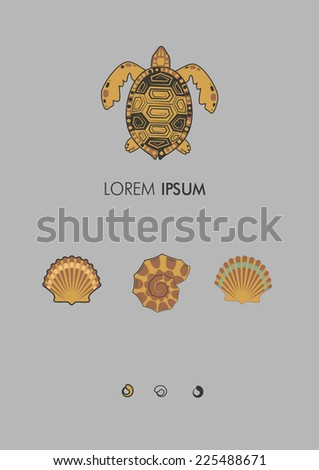 Sea set. There are tortoise, shells, pearls - stock vector