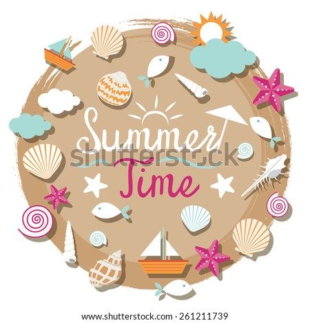 Sea Shell and Summer Objects Icons Heading - stock vector
