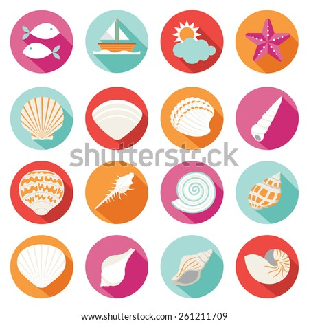 Sea Shell Flat and Summer Icons Set - stock vector