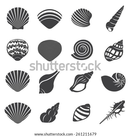 Sea Shell Flat Mono Icons Set - stock vector