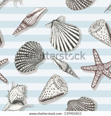 Sea shell pattern. Marine summer seamless background for your design and scrapbooking. - stock vector