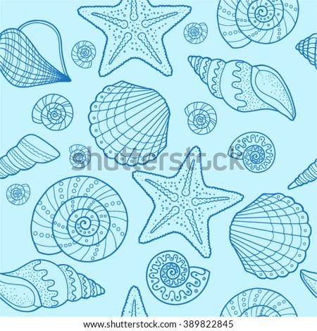 sea shell vector seamless pattern for textile design