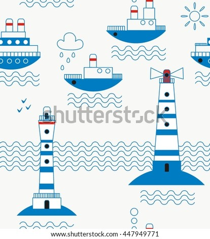 Sea, ships, lighthouses, seagulls, clouds, sun white, blue, red, black a seamless pattern on a white background. - stock vector
