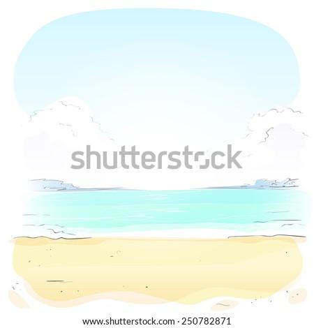 Sea Shore Sand beach Summer vacation. Vector illustration - stock vector