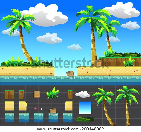 Sea stage.vector for games design - stock vector