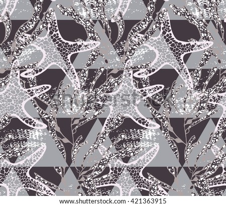 Sea star brown on triangles.Hand drawn seamless pattern. Nature textile design. Ocean fabric collection.