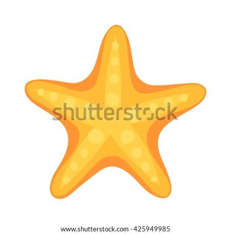 Sea star caribbean starfish on a white background. Coral aquatic sea star and vector cartoon sea star fish. Starfish tropical nature animal sea star and life mollusk underwater sea star. - stock vector