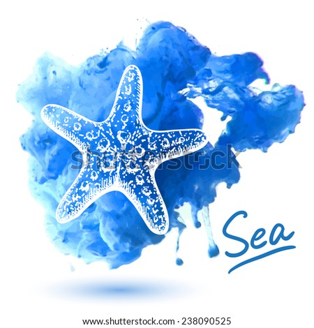 Sea star on a watercolor background. Original hand drawn illustration - stock vector