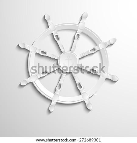 Sea steering wheel with anchor logo design. EPS10 vector - stock vector