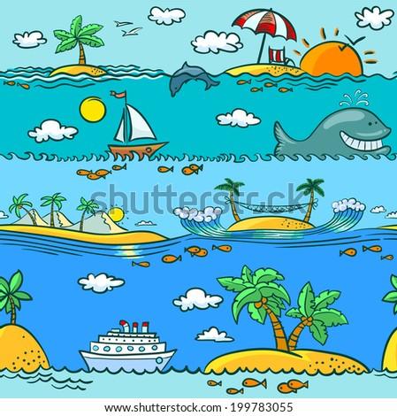 Sea summer seamless pattern - stock vector