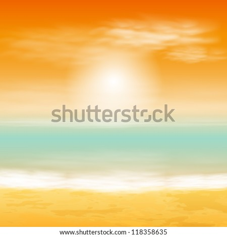 Sea sunset. EPS10 vector. - stock vector