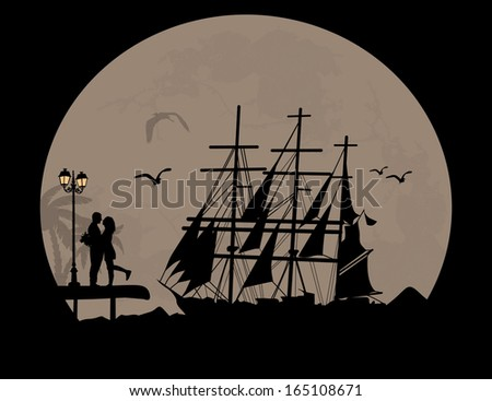Sea sunset with boat and couple silhouettes, vector illustration - stock vector