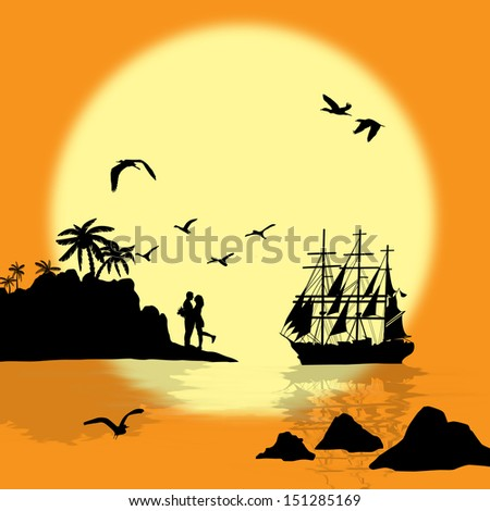 Sea sunset with boat, island and couple silhouettes, vector illustration - stock vector