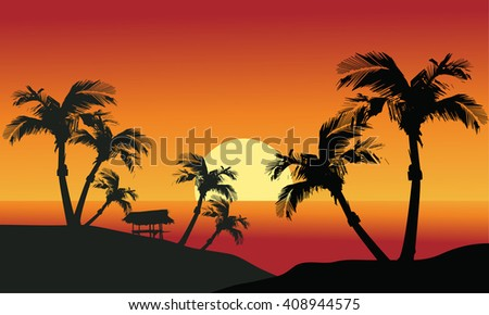 Sea sunset with island and palm trees and hut