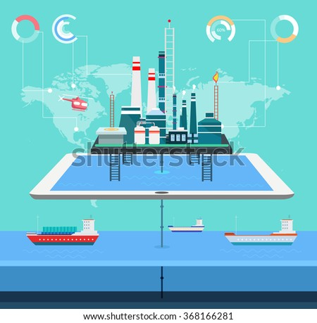 sea technology communication refinery factory and computer technology with eco-factories industry landscape graphics elements for design - stock vector