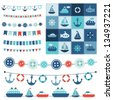 sea theme garland and patchwork - stock vector