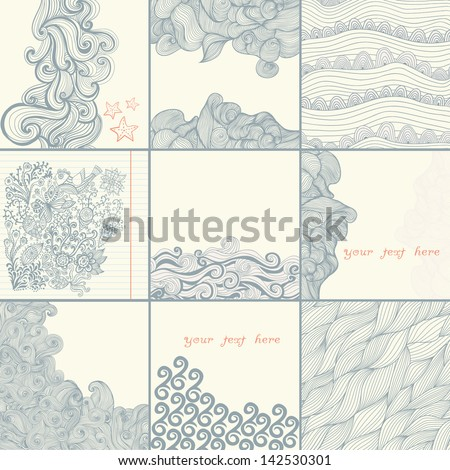 Sea time set. Vector abstract invitation card. Template frame design for card.Background wave and starfish,maritime pattern. Ocean texture.Background waves and starfish, maritime pattern.Sea backdrop. - stock vector