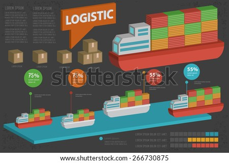 Sea transport and shipping design,three dimension,clean vector - stock vector