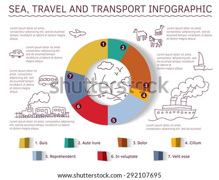 Sea travel and transport info graphic Diagram with color and shadow and doodles drawing icons. Color vector illustration. - stock vector