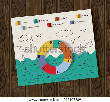 Sea travel and transport info graphic doodles and wood background Easy editable, collage with color paper and hand drawing. Color vector illustration. - stock vector