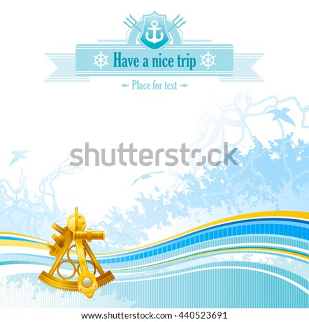 Sea travel background design for yacht club with net, foam, and seagulls and sextant icon. Copy space for your text - stock vector