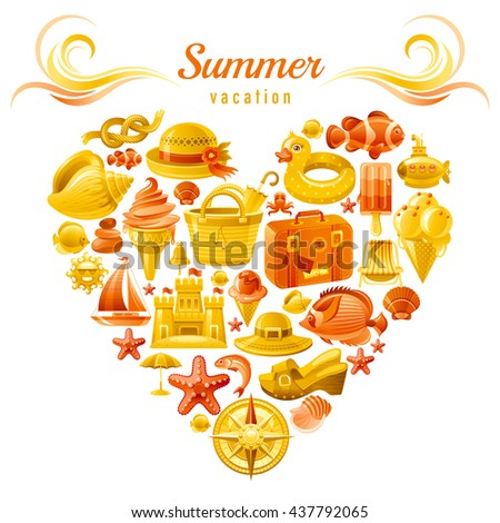 Sea travel flayer design with heart composed of vacation summer symbols. Concept icon set contains suitcase, sand castle, tropical fish, compass rose, ship, hat, ice cream, clogs, seashell, fish - stock vector