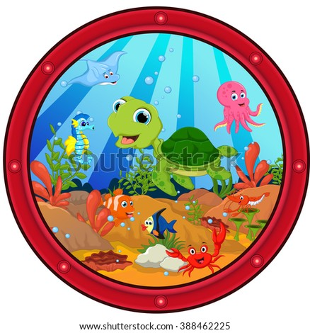 sea turtle cartoon - stock vector