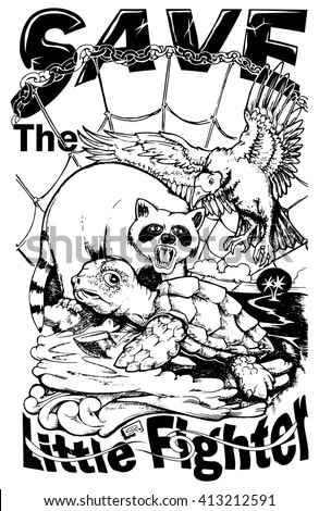 Sea turtle conservation poster in black white hand draw