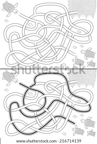 Sea turtle maze for kids with a solution in black and white