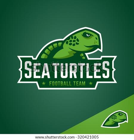 Sea turtle sports emblem mascot logo graphic design - stock vector