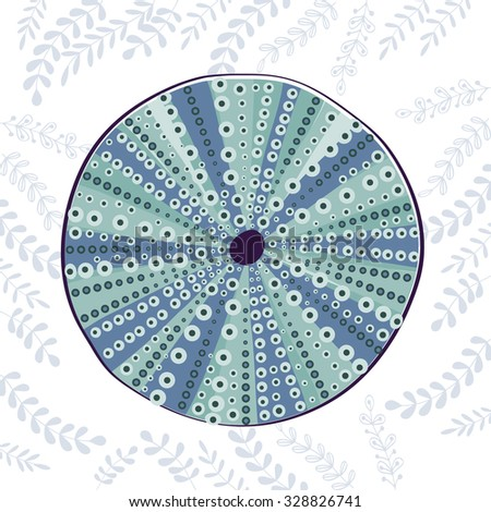 Sea urchin colorful illustration. In vector format - stock vector