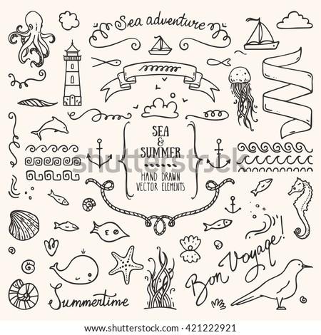 Sea vacation design elements. - stock vector