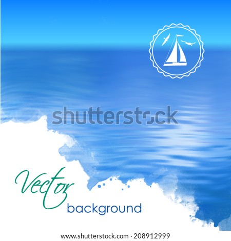 Sea vector landscape. Abstract ripple water blue watercolor background - stock vector