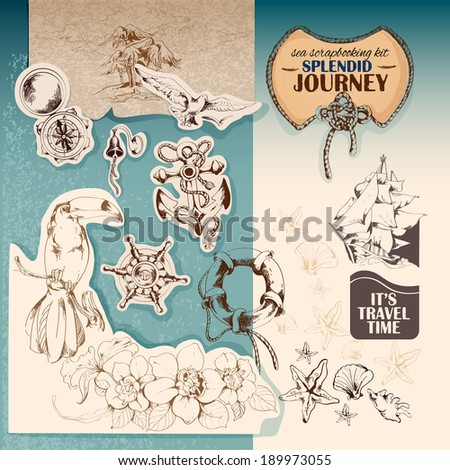 Sea vintage scrap-booking kit of sailing ship anchor seagull stickers vector illustration - stock vector