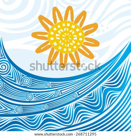Sea wave and sun nature pattern background vector illustration - stock vector