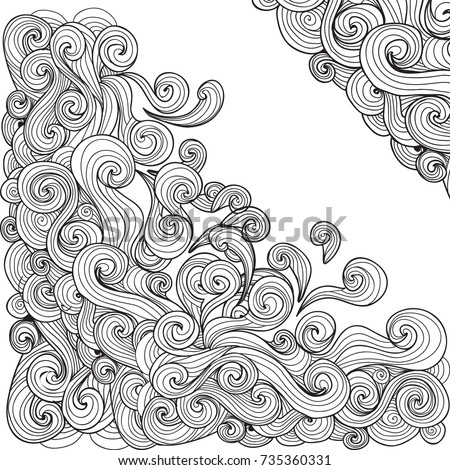 Sea Wave Coloring Book For Adults Vector Illustration Anti Stress Adult Water