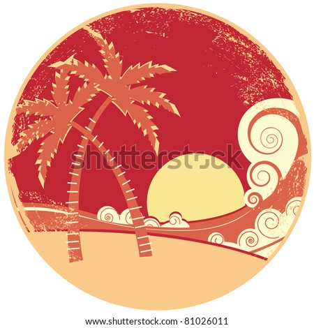 sea waves and island. Vector vintage graphic illustration of water seascape - stock vector