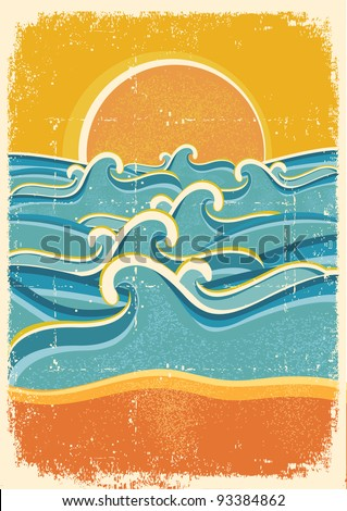Sea waves and yellow sand beach on old paper texture.Vintage illustration - stock vector