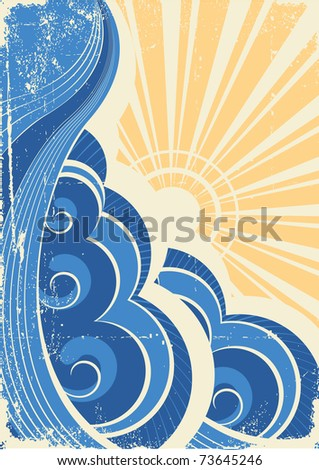 Sea waves. Grunge vector illustration of sea landscape - stock vector