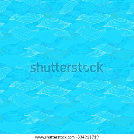 Sea waves illustration. Wallpaper seamless textile surface pattern. - stock vector