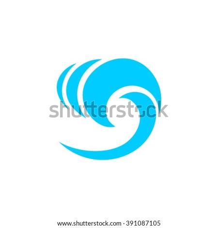 Sea waves logo design template icon. - stock vector
