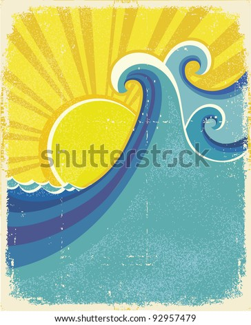 Sea waves poster. Vintage illustration of sea landscape on old paper texture