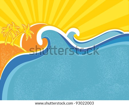 Sea waves poster with palms. Vector illustration of sea landscape.
