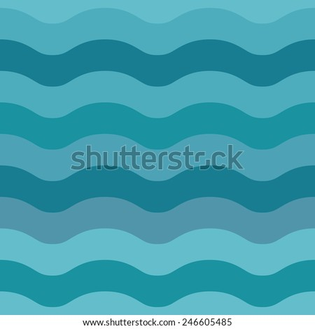 Sea waves seamless abstract pattern background. Vector illustration.